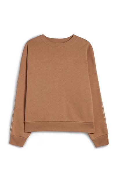 Camelkleurige wijdvallende trui