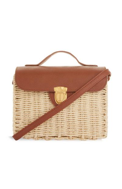 Natural Crossbody Straw Boxy Bag