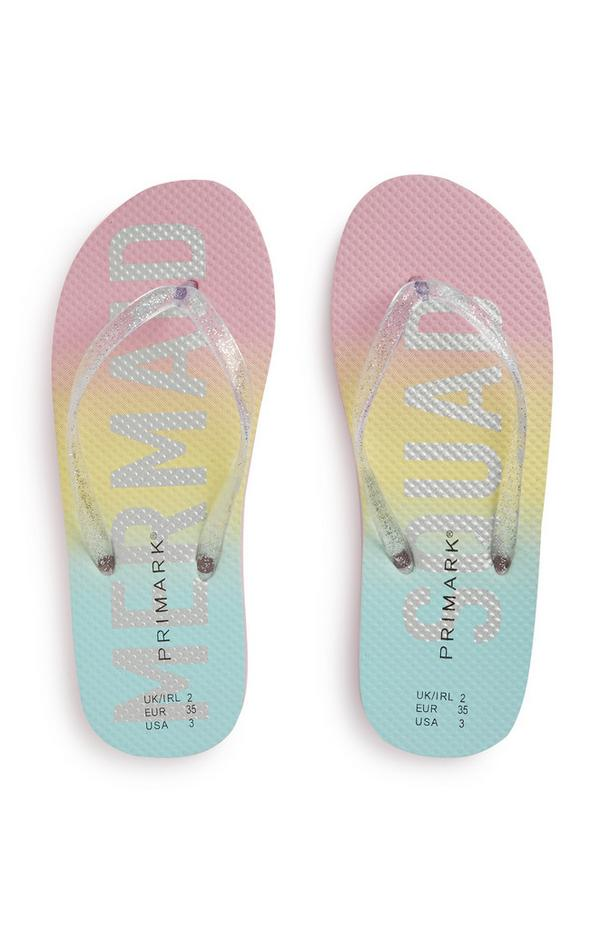 Mermaid Sqaud Ombre Slogan Flip Flops