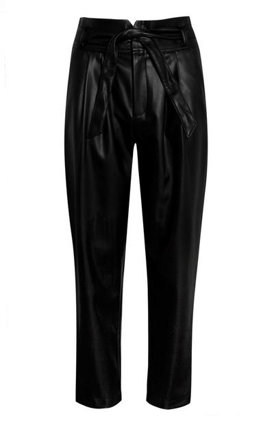 Black Vegan Faux Leather Peg Leg Trousers