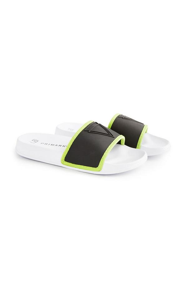 Older Boy Neon Trim Black Slides
