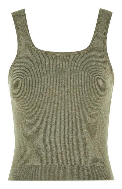 Olive Recycled Knit Tank