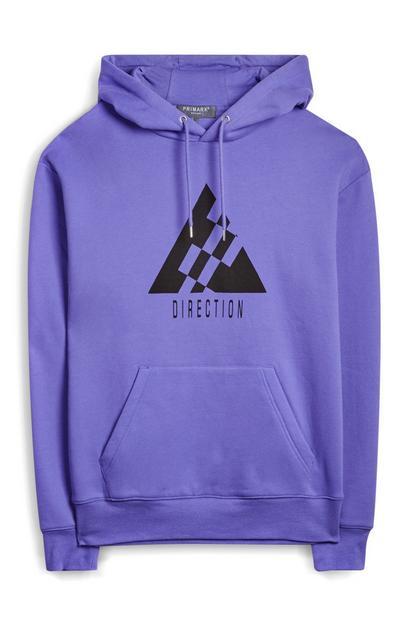 Sweat à capuche violet Direction avec poche sur le devant