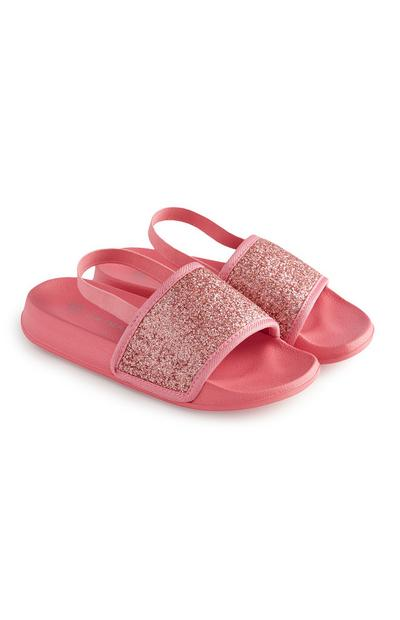 Younger Girl Pink Glitter Sliders