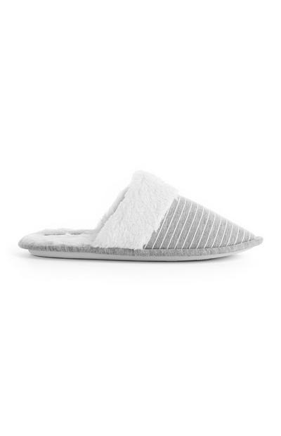 Gray Striped Jersey Mule Slippers