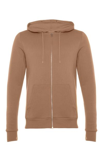 Sweat à capuche marron clair zippé