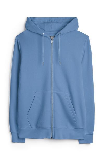 Sudadera azul con capucha y cremallera