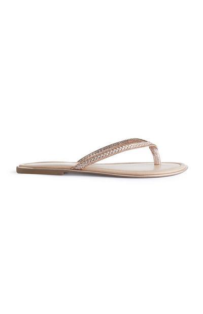 Nude Glitter Sandals