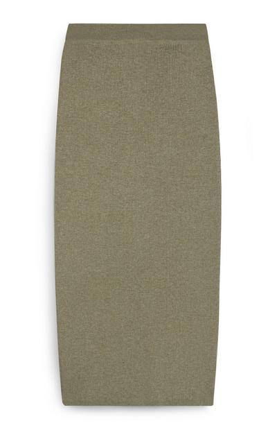Olive Long Knit Skirt