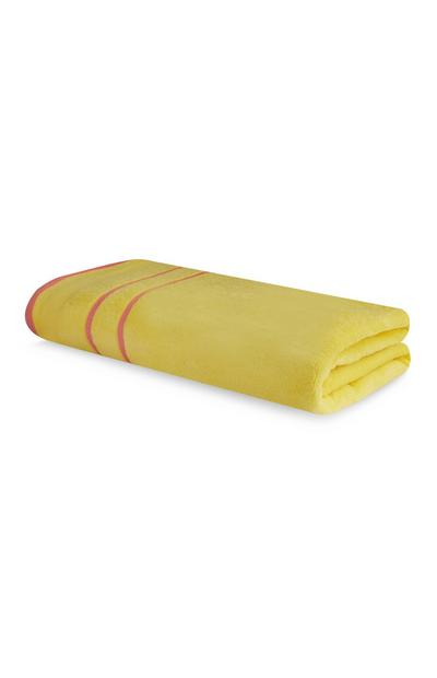 Yellow And Pink Piping Beach Towel