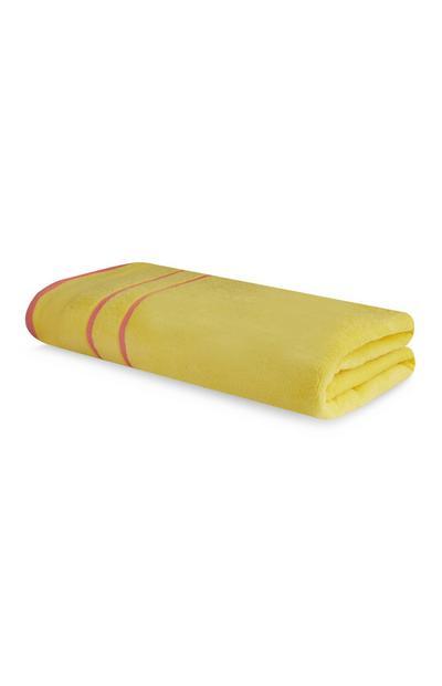 Telo mare giallo con profilo rosa