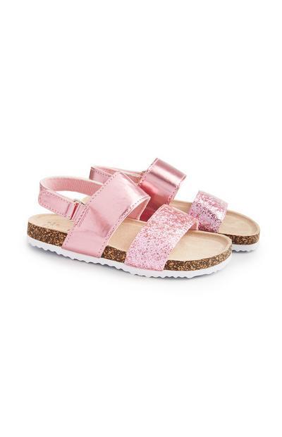 Younger Girl Glitter Pink Strap Footbed Sandals