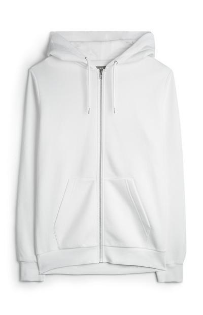 Sudadera blanca con capucha y cremallera