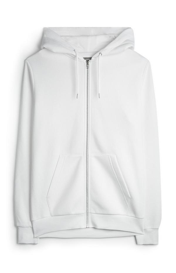 Witte hoodie met rits