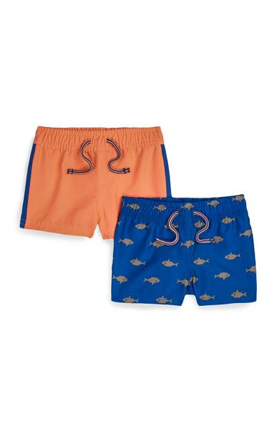 Baby Boy Orange And Blue Fish Print Shorts 2Pk