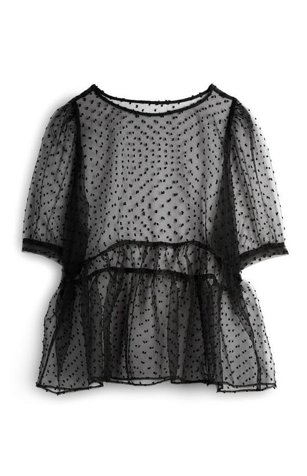 Camicetta nera in mesh con maniche a palloncino
