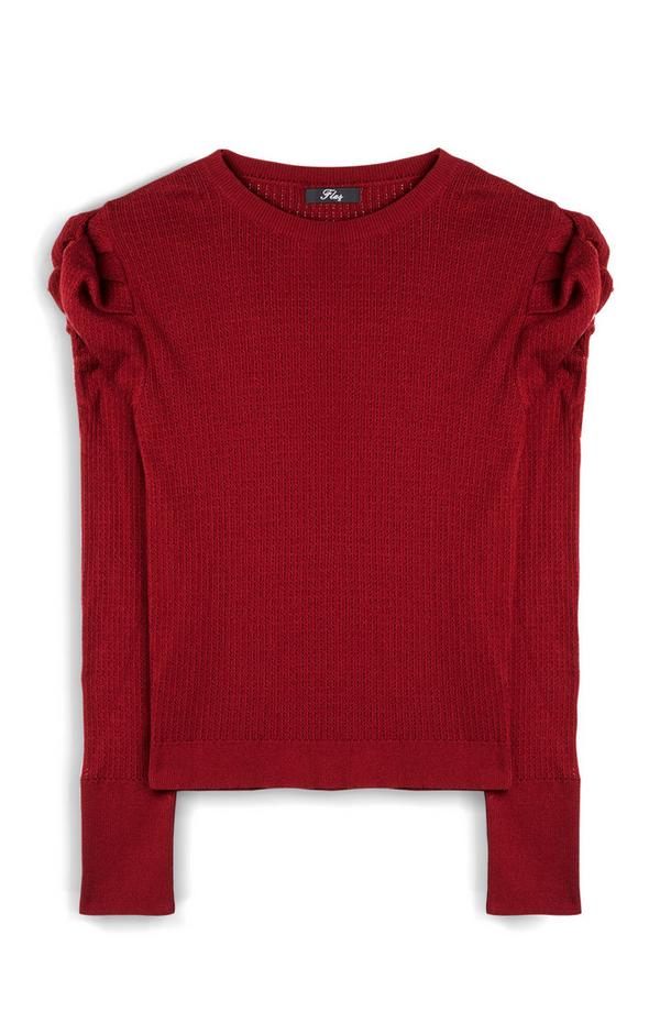 Red Puff Sleeve Longsleeve Jumper