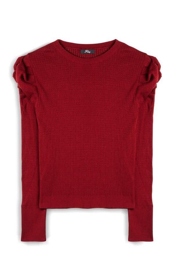 Maglione rosso a maniche lunghe a palloncino