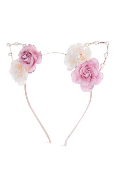 Pink Flower Ears Headband