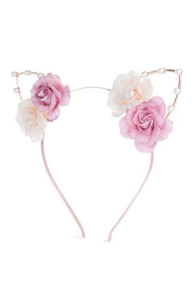 Serre-tête rose à oreilles et fleurs