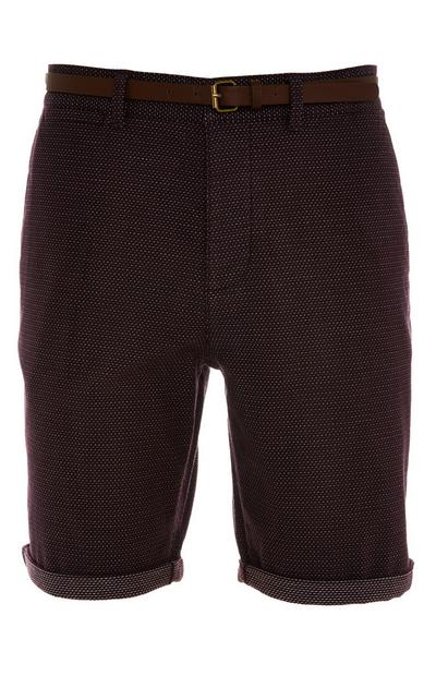 Deep Burgundy Rolled Hem Belted City Shorts