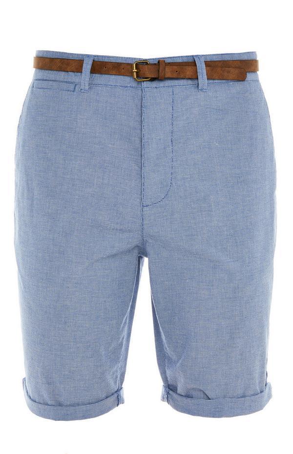 Blue Rolled Hem Belted City Shorts
