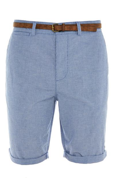 Blue Rolled Hem Belted City Shorts