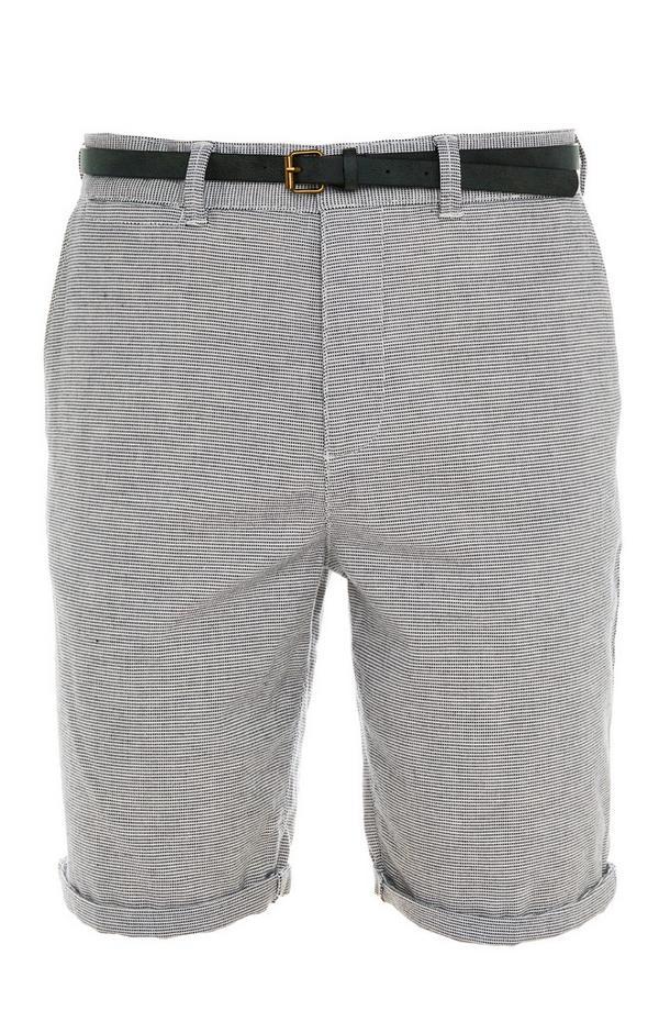 Grey Rolled Hem Belted City Shorts
