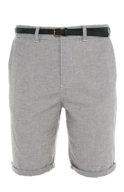 Gray Rolled Hem Belted City Shorts