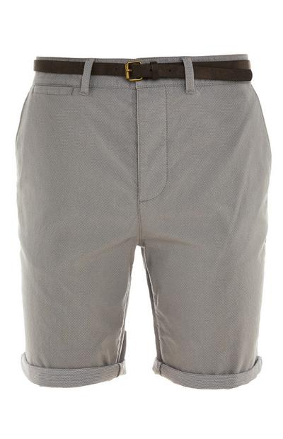 Grey Rolled Hem Belted City Shorts