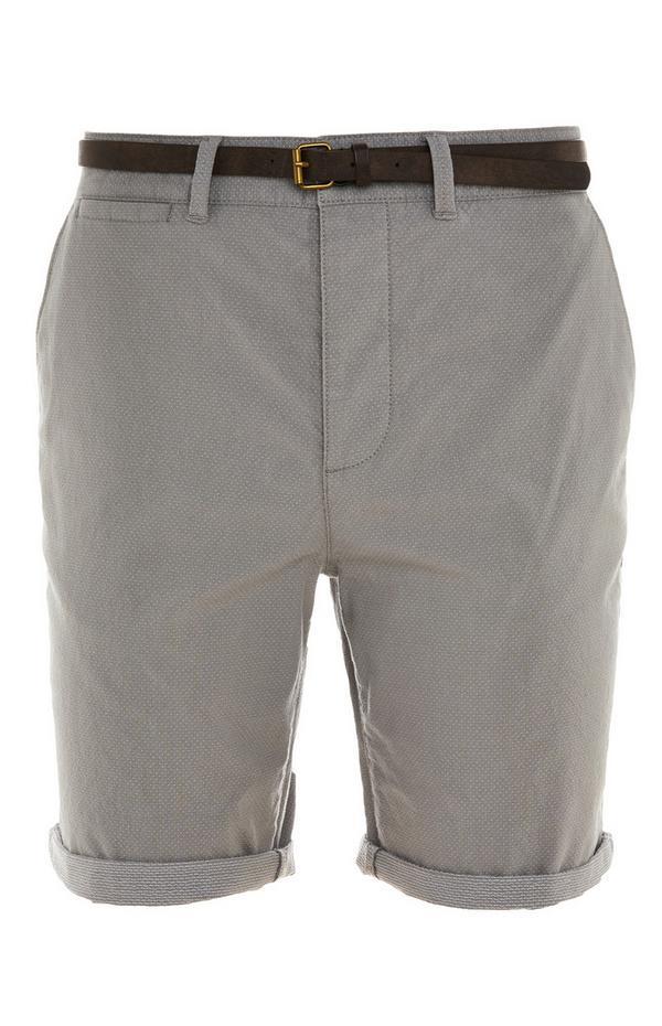Shorts da città grigi con risvolto e cintura