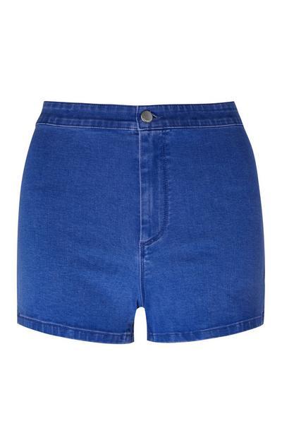 Lichtblauwe korte broek met hoge taille
