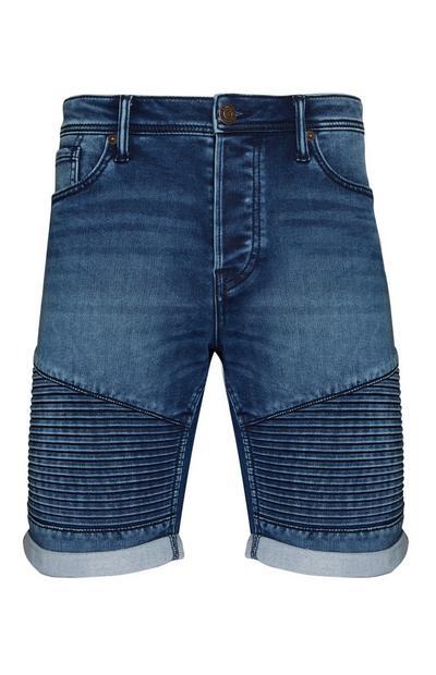 Dark Blue Denim Biker Shorts