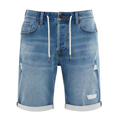 Short bleu en jean avec liens à nouer à la taille