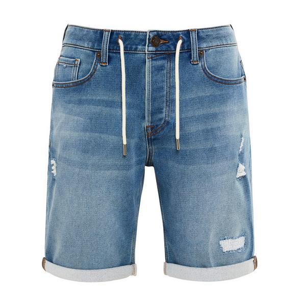 Blue Denim Drawstring Shorts
