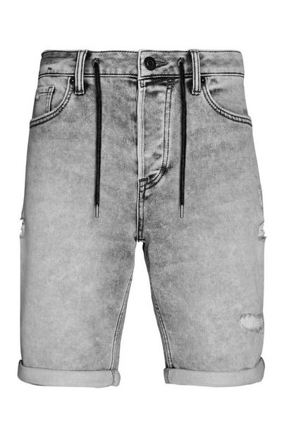 Grey Rip And Stitch Knitted Drawstring Shorts