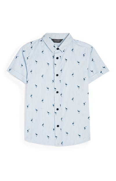 Younger Boy Blue Flamingo Oxford Shirt