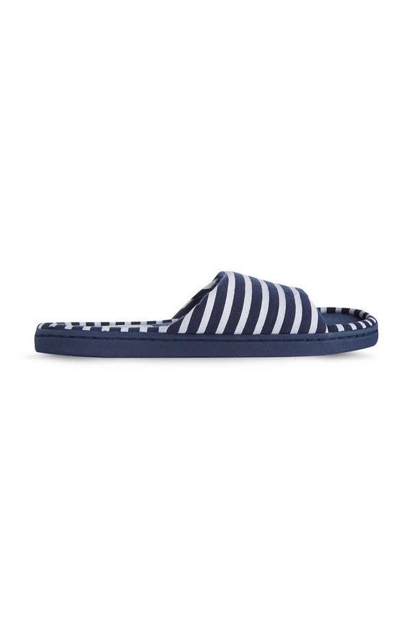 Donkerblauwe gestreepte slippers