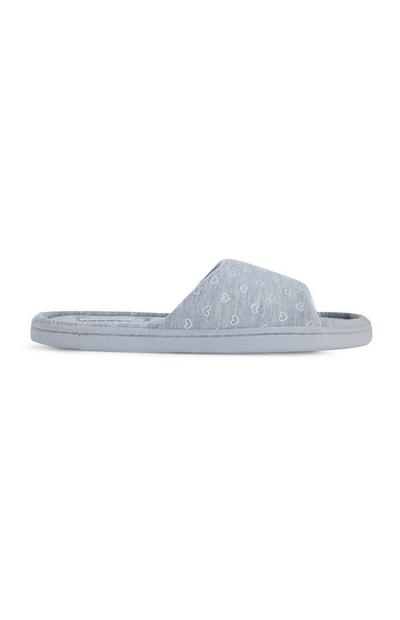 Gray Heart Print Slippers