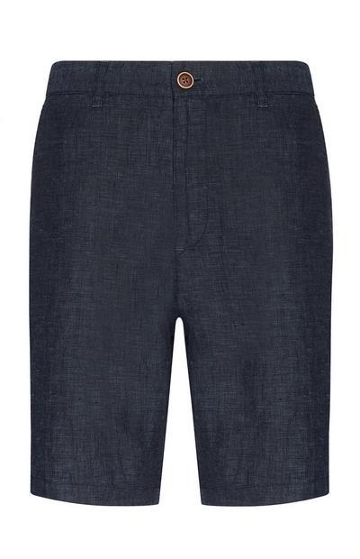 Donkerblauwe linnen chinoshort