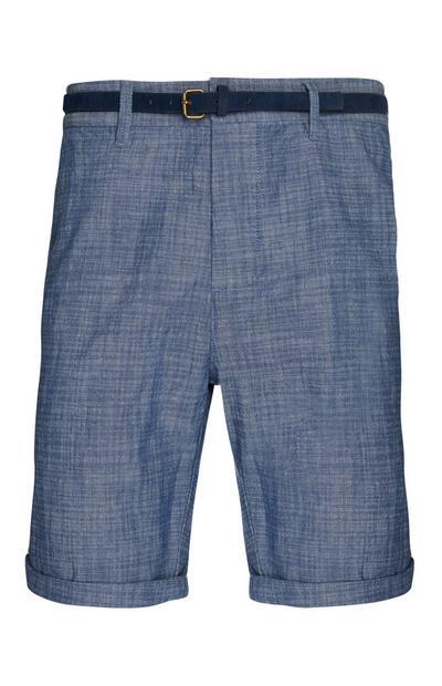 Donkerblauwe short met riem