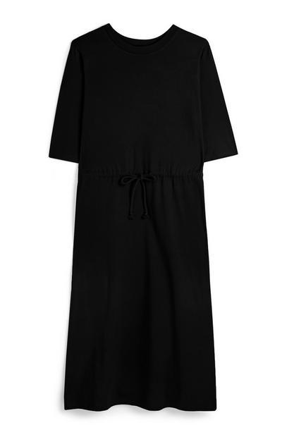 Zwarte jersey tuniekjurk met trekkoord