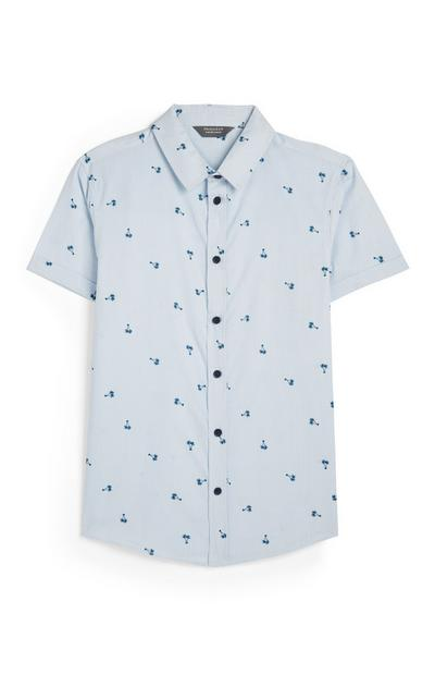 Older Boy Blue Palm Tree Oxford Shirt