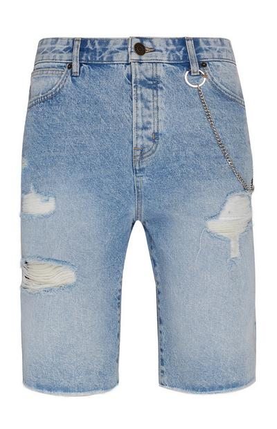 Ripped Denim Skater Shorts