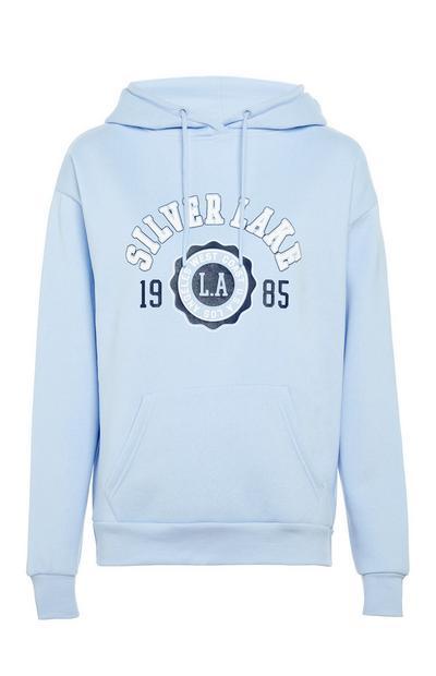 Sudadera azul claro con capucha, texto «Silverlake» y bolsillo delantero
