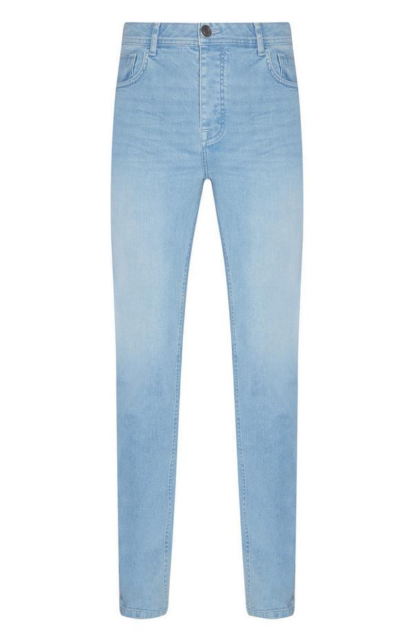 Calças ganga elásticas corte justo azul claro