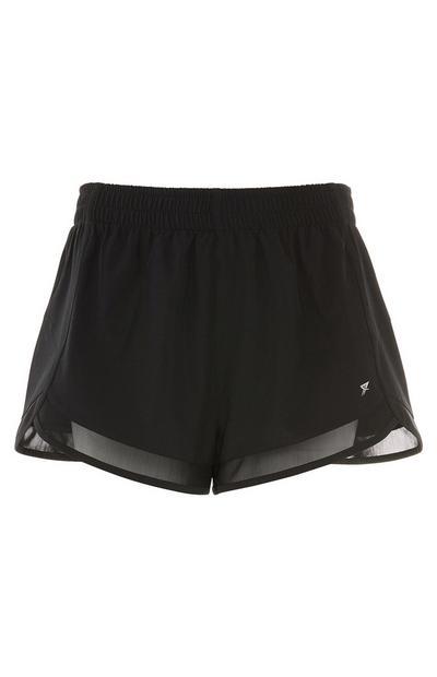 Black Woven Mesh Shorts