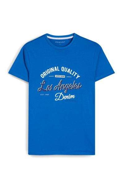 Blue Los Angeles Crew Neck T-Shirts