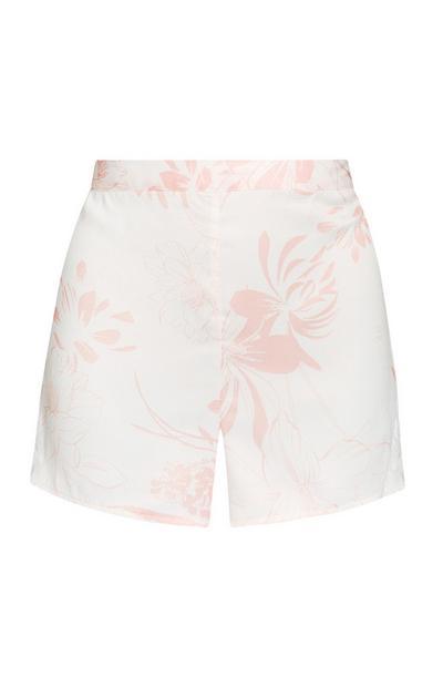 Shorts avorio in raso con stampa a foglie