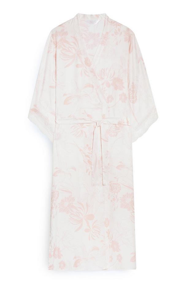 Ivory Leaf Print Satin Robe
